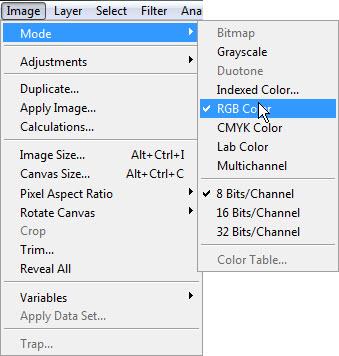 Изменение модификации цвета в программе Photoshop